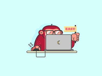 [Moonkey Babysitting] Coding Monkey glasses code development computer flag easy illustration vector coding application monkey