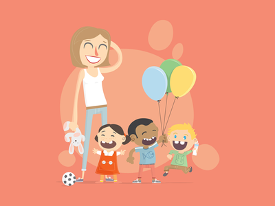 Kids Playing childhood illustrator daycare illustration baloon children child kids
