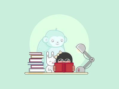 Imaginary Friends yeti glasses read desk green illustration light rabbit monkey book girl