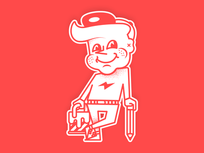 Old School Boy character smile cap sticker old school retro painting pencil pen red paint boy