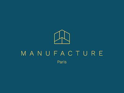 Manufacture Paris Logo paris fashion couture blue yellow workshop manufacture elegant logo