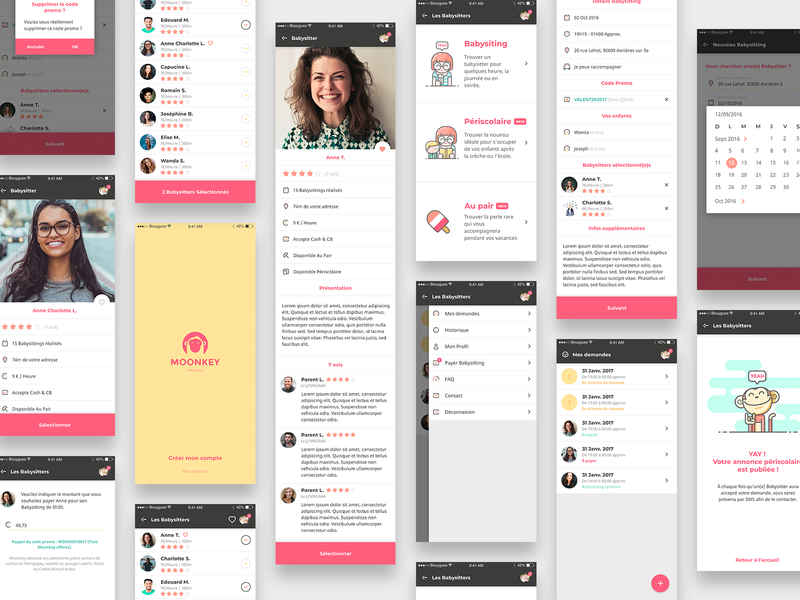 moonkey babysitting ux final views product design mobile design system icon list trust profile app ux ui design identity illustration
