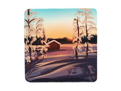 Winter landscape cottage house trees digitalarts digitalart freeze sunset down freezing snow winter