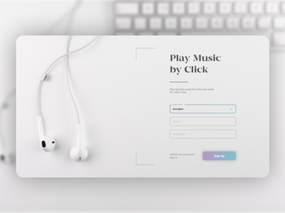 Music App Sign Up Screen