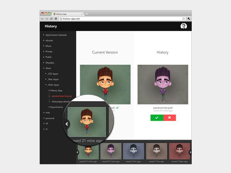 History App version version control dropbox black web web app