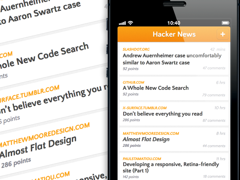 Hacker News iOS App ios iphone app hacker news clean