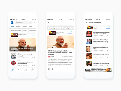 News App list view article page details page fact check news app johny vino