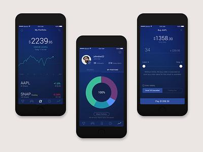 Stock Trading App Case Study (Dark Theme) johny vino home ios app graph black dark theme stock trading