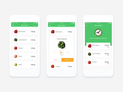 Vegetable E-commerce App johny vino white clean android app sale green vegetables ecommerce