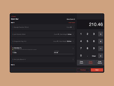 Bar Inventory Calculator johny vino clean design cards ux ui app calculate black dark web calculator
