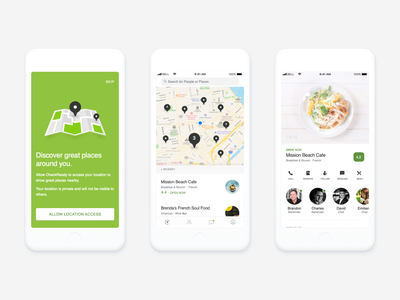 Food App johny vino illustration cards android onboarding list locate map finder employee uiux clean ui clean white green food menu restaurant
