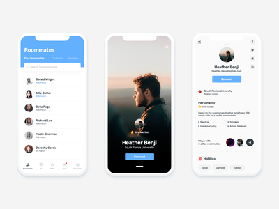 Roommate Finder App johny vino connect picture display picture profile iphonex blue and white clean blue uiux ui app finder roommate