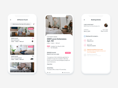 Room Finder App johny vino clean cards android roommate building home apartment booking pink white uiux ui app finder room