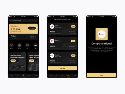 Credit Card Management App johny vino offers search details congratulations reward payment scan app ui golden black cred creditcard