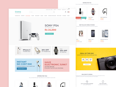 Croma Web Landing Page johny vino iphone playstation buy sell purchase buttons landing page website ui ux product ecommerce electronics