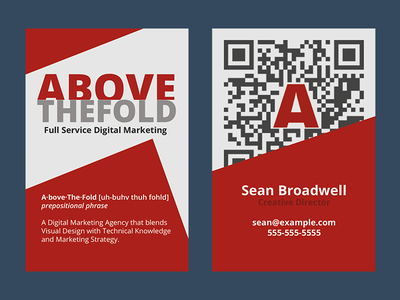 Above the Fold - Business Cards qr code digital agency business card