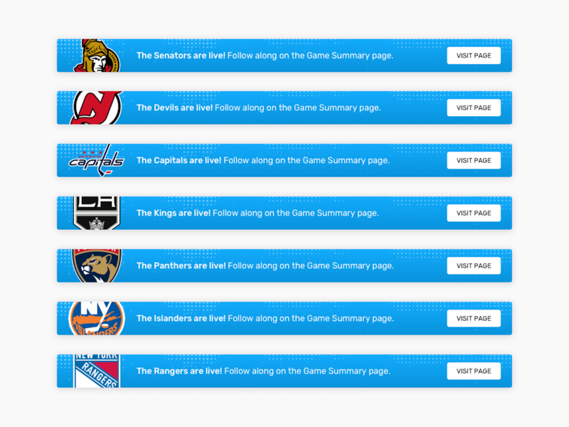 Game Banner Previews dashboard nhl teams nhl banner link banner hockey nhl