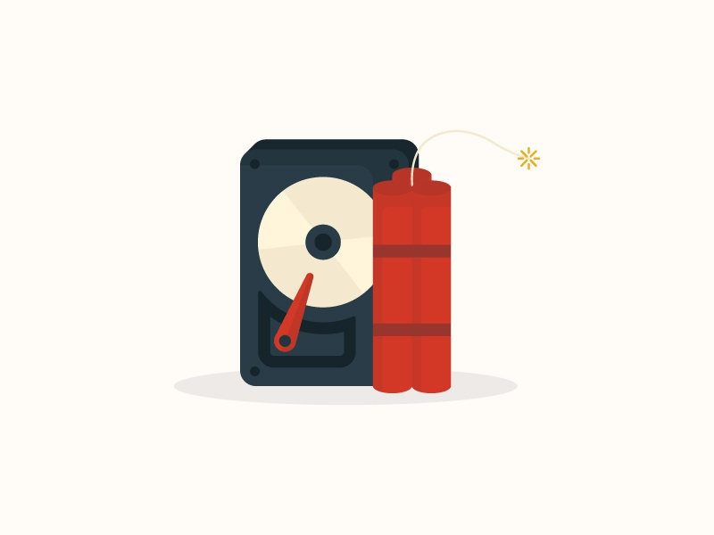 Disaster Recovery flat illustration icon failure hardware recover disaster dynomite hard drive