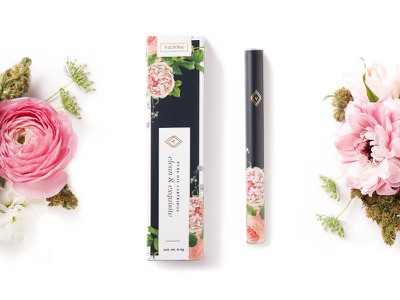 Venna Clean & Exquisite feminine women product pink navy packaging floral cannabis