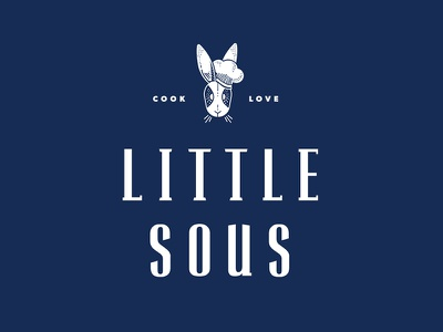 Little Sous logo white chef navy logo kids rabbit cooking