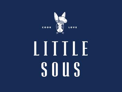 Little Sous logo white chef navy logo kids rabbit cooking