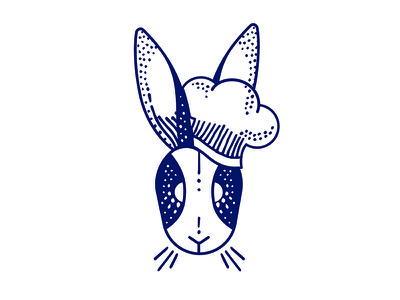 The littlest chef whiskers ears white navy chef bunny rabbit