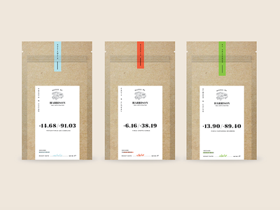 Harrison Small Batch roasters green blue red design kraft handcrafted rv packaging coffee