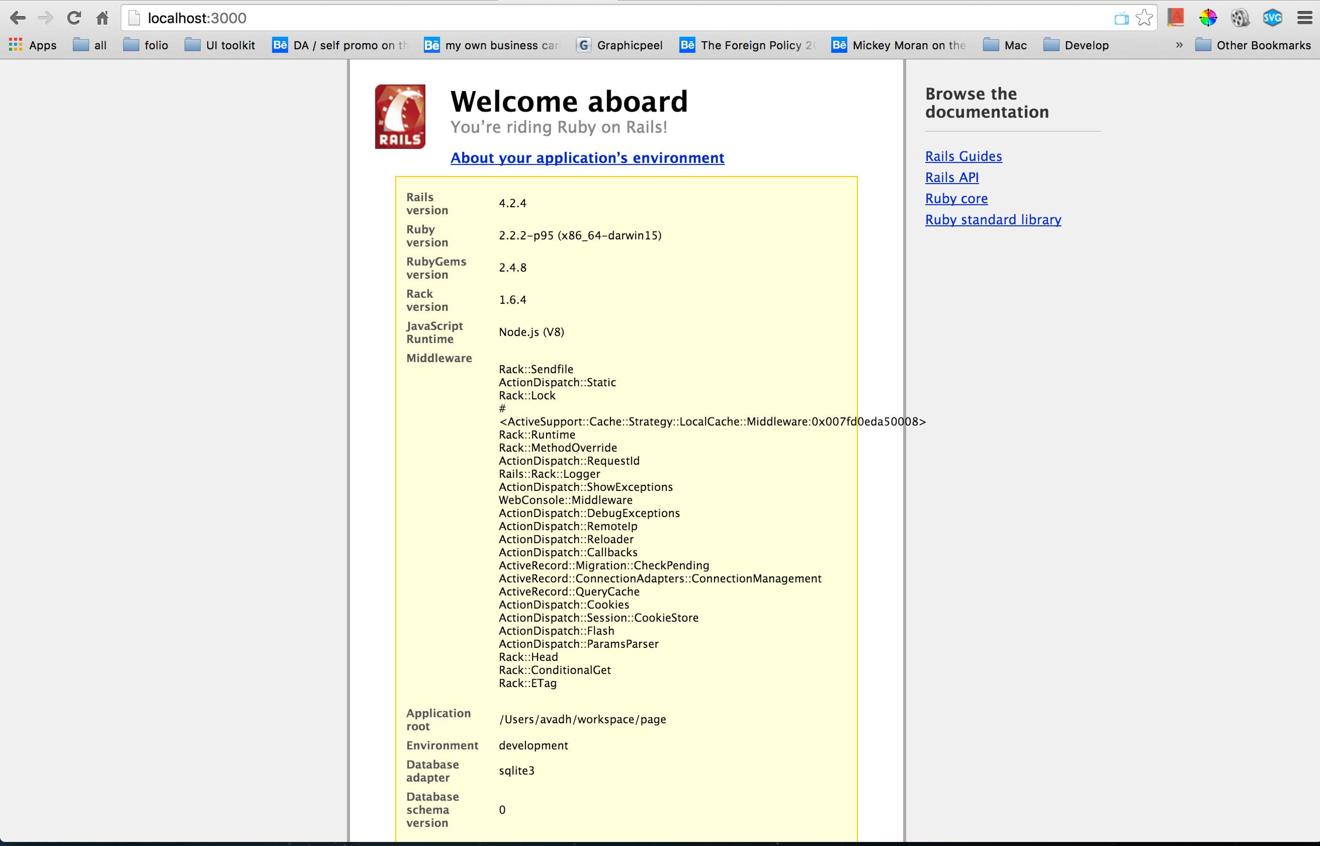 Current default rails page
