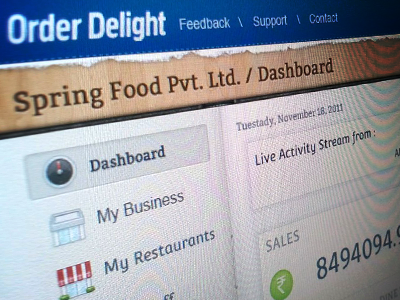 OrderDelight Business section dashboard
