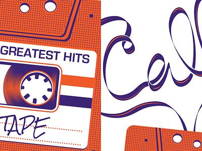 Call Me a Mixed Tape illustration orange purple tape retro vintage old-school ribbon cassette 2 color