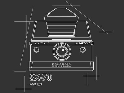 SX-70 Line art line art black and white retro vintage sx-70 polaroid camera illustration vector