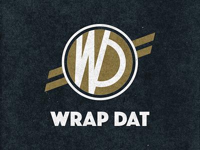 Wrap Dat Logo paper texture bold type logo ribbon texture gold black