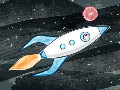 Launch Illustration red blue black watercolor space owl launch exploration space rocket