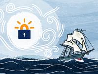 Naval ship illustration