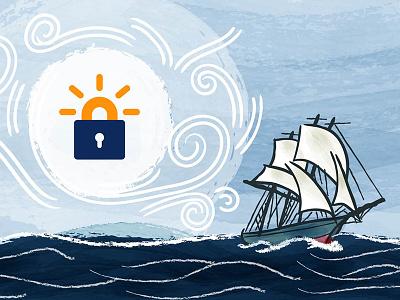Naval ship illustration naval frigate privacy security ssl lets encrypt texture watercolor wind swept blues dark blue illustration