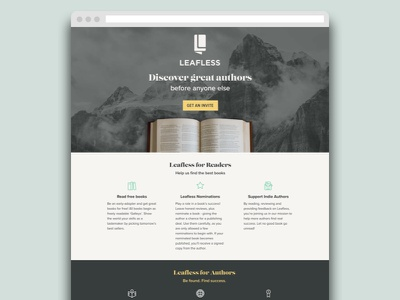 Leafless Landing Page startup open book mountain book publishing signup page beta landing page coming soon landing page grey leafless