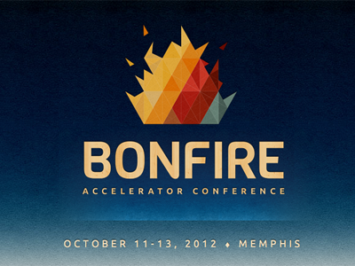 Bonfire Conference Landing Page blue gradient textured cardboard geometric logo landing page one page website yellow red primary colors conference