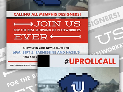 Memphis Pixelworkers Meetup Poster poster pixelworkers memphis meetup designers community red white gray blue typography