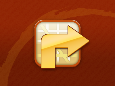 Map Icon app icon directions navigation map arrow orange red yellow warm gloss