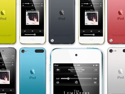 Ipod Touch PSD Template ipod ipod touch psd template green red blue white black ios6 music