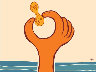 Anybody want a Peanut? illustration peanut water vintage pop art hand drawn orange blue tan
