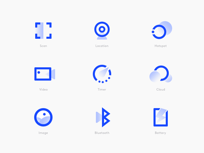 Icon Style Explore gradient simple flat abstract color blue icon