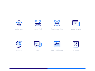 Redesign of Baidu Ai Service Icon tech data nlp recognition face nlp vr voice ai image video blue