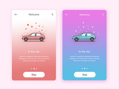 welcome screens car ui slider news mobile line illustration design card board app