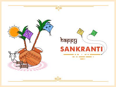 Pongal illustration kites pots traditional style recent sankranti india illustration pongal flat
