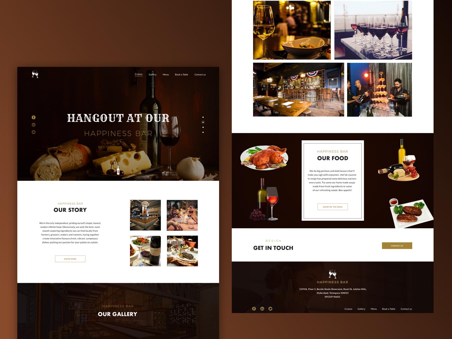 Resturent & Bar site site wine app wine bar website theme food app ux designer interface design landing page brown bar resturent dark design ui  ux design