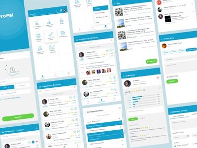 Propal_Mobile app home signup login chat rating splash icons user profile social mobile android ios cards app