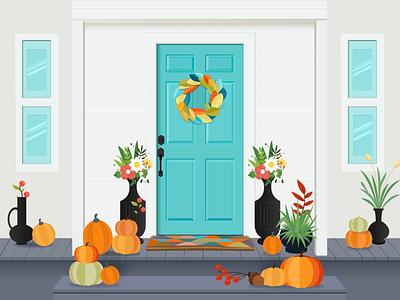 Halloween Home homedecorator decorator home blue and white popular recent design window minimal flower pumpkin holloweenhome blue clean door holloween illustration