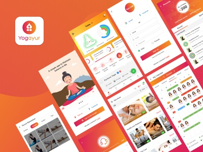 Yogayur design minimal interface spa ecommerce audio player images gallery rewards calander login signup welcome screen gradient illustration mobileapp ux ui healthcare app health app