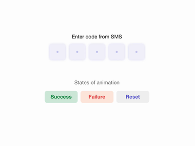 SMS Code Input Animation clean mobile web colorful ux ui interaction codepen shakes sms input animation